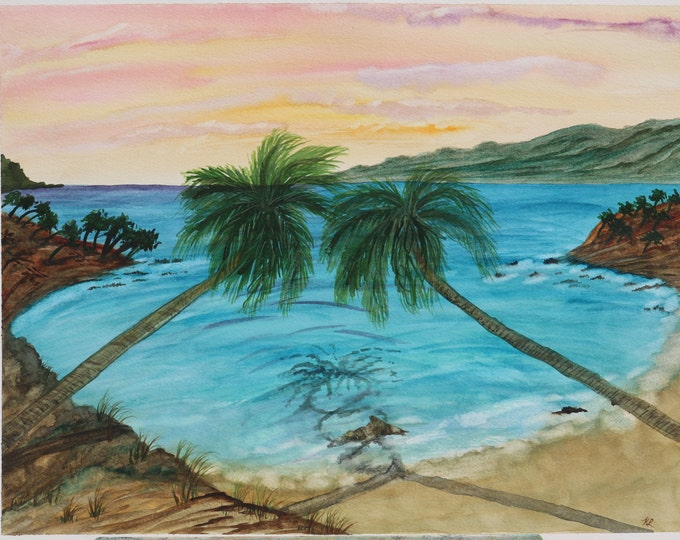 Love in Paradise signed original watercolor 16x12 landscape hand painted palm trees tropical cove beach intertwined reflection Not a Print