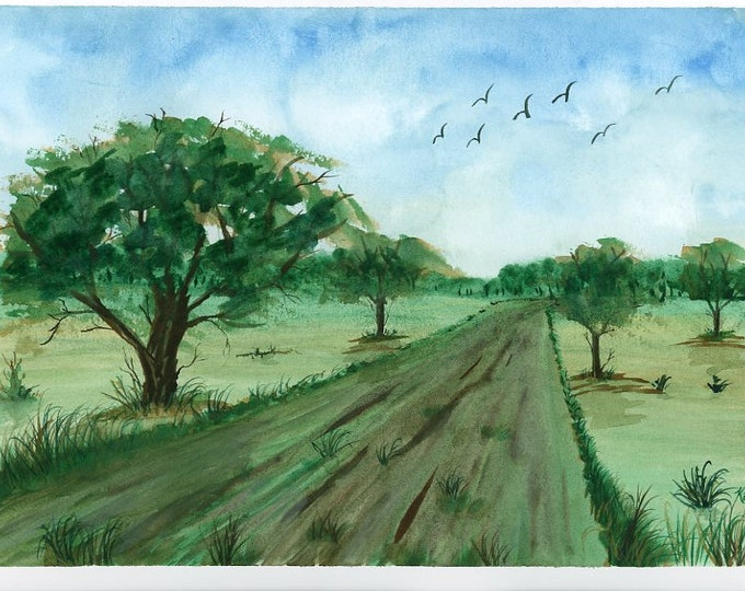 Country Road original watercolor one of a kind 9x12 landscape serene peaceful road lush trees soaring birds white fluffy clouds easy ride
