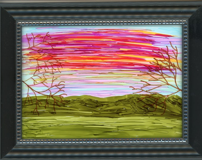 Original Alcohol Ink Painting on glass hand painted green valley vibrant red orange sunrise trees 6.5x8.5 framed desk size one-of-a-kind 5x7