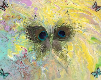 Yellow Butterfly - Original LeClaire acrylic liquid dirty pour painting - abstract art pour with butterflies yellow turquoise purple peacock