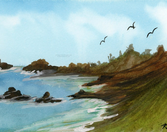 Tropical Hawaii Cove Digital Downloadable Art Print Hand Painted Watercolor Turquoise Water Cliff Ocean Birds Multiple High Resolution JPEG