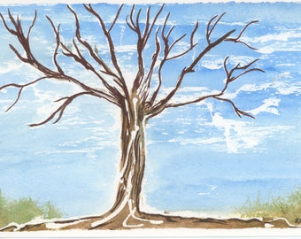 Barren Tree Blue New Watercolor Postcard 4x6 Artbyleclairedesigns. New Painting Bare Branches Nature Winter White Clouds Sky Post Mail Card