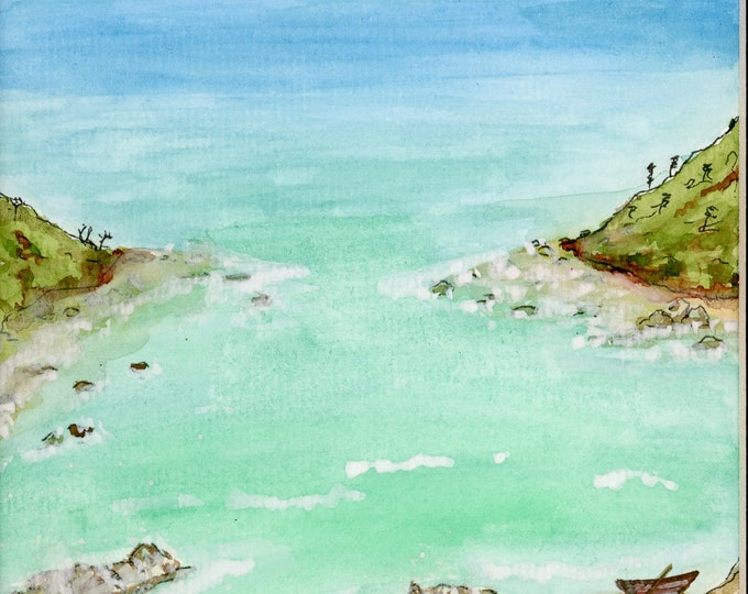Seaside View Cove Watercolor New Original LeClaire Hand Painted Not A Print ArtByLeClaireDesigns Black Mat 8.5x11 Ocean Water Rocks