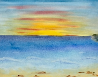 Sunset Bright Pastel Ocean Waves Cove Original New Art Vacation Scene LeClaire  hand painted Not a Print ArtByLeClaireDesigns  Soft Peaceful