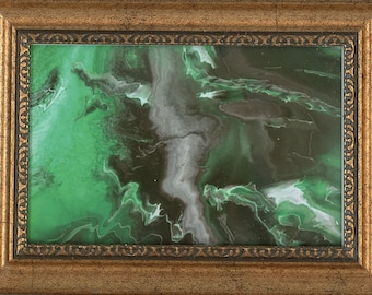 Framed Print of Original Emerald Lightning ArtByLeClaireDesigns Abstract Picture 4x6 Print 5x7 Frame Art Acrylic Pour Desk Size