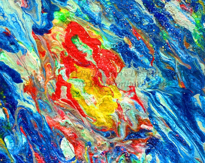 Electric Blue Rainbow Square Downloadable Art Print High Resolution Hand Painted Acrylic Dirty Pour Painting 1:1 Ratio Fluid Flow Abstract