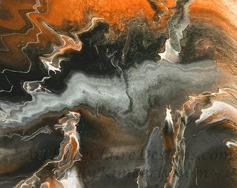 Lightning Series - Orange Downloadable Art Print Hand Painted Abstract Liquid Fluid Flow Art Dirty Pour Multiple File Sizes JPEG Files
