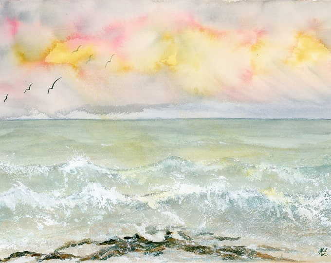 9x12 Crashing Waves New Watercolor Seascape Ocean Painting one of a kind art original not a print seafoam yellow pink sky clouds seagulls