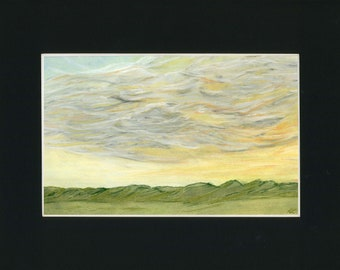 Clouds over the Valley Pan Pastel Painting one of a kind art 11x14 inches black mat original soft green landscape large thunder storm sky