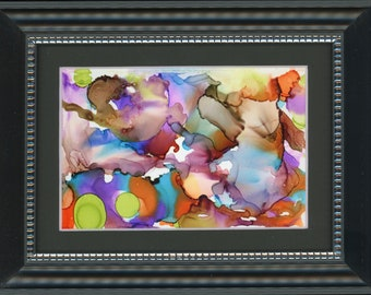 """Original alcohol ink painting rainbow colored circle 6.5x8.5 framed art desk size one-of-a-kind 4x6"""" new fluid flow art painting not a print"""