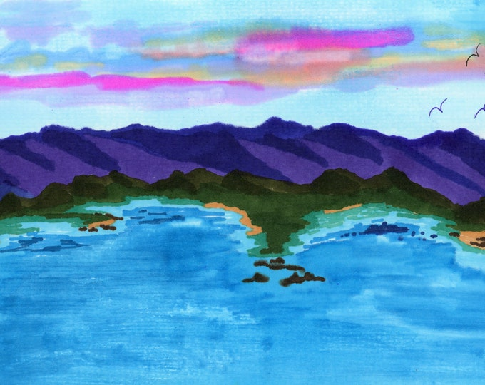 Alcohol Ink Coastline Purple Mountains Vibrant Bright New Original LeClaire Hand Painted Not Print ArtByLeClaireDesigns By the Sea