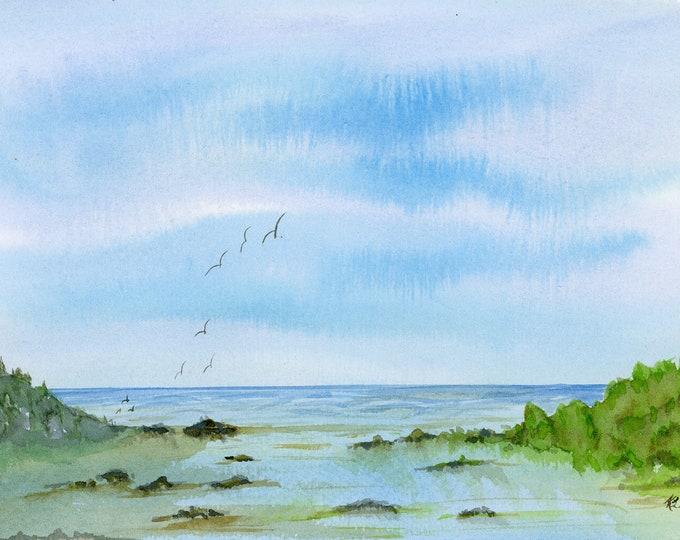 Marshland original watercolor one of a kind 9x12 landscape ocean hand painted bird blue sky fluffy clouds sand surf rocks beach low tide