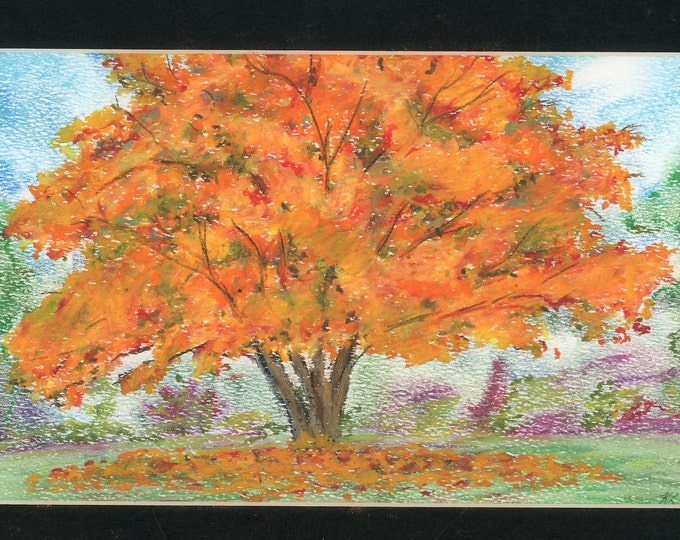 SOLD Autumn Leaves oil pastel painting one of a kind in 8.5x11 black mat ready to frame authenticity paperwork orange red signed original