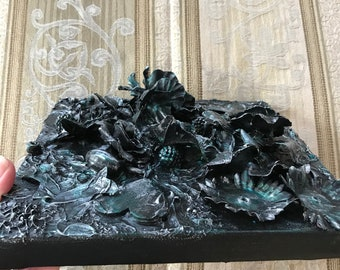 Mixed Media 3D 8x10 Painting Butterfly Roses Silver Emerald Black Abstract Box Canvas Beads ArtByLeClaireDesigns 3 Dimension Steampunk Style