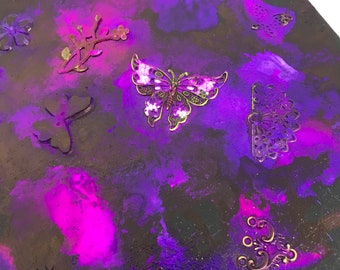 3D Embellished Butterfly Alcohol Ink Painting - 8x8 inch Black Box Canvas Glowing Pink Purple Neon Colors ArtByLeClaireDesigns fluid art