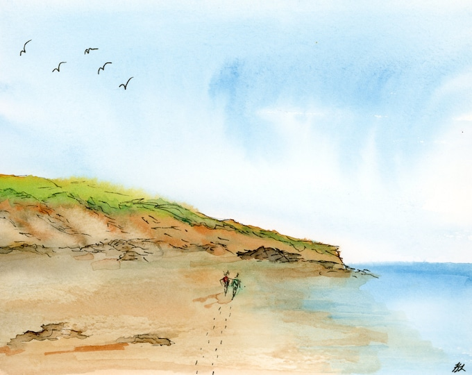 6x8 Original New Pen and Wash Watercolor Seascape Beach Walkers Seagulls Cliffs Blue Sky one of a kind landscape hand painted not a print
