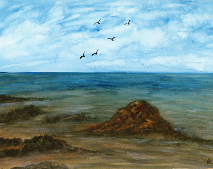 Low Tide original watercolor one of a kind 9x12 landscape ocean hand painted birds blue sky fluffy clouds sand surf rocks water beach blue