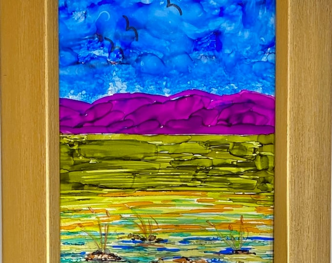 Original Alcohol Ink Painting on glass hand painted green valley blue sky birds purple mountains 6x7.5 simple brass colored framed desk size