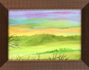 Watercolor New Plein Air Framed Original Hand Painted Landscape Signed Not A Print ArtByLeClaireDesigns Purple Sky Mountain Range Green Hill
