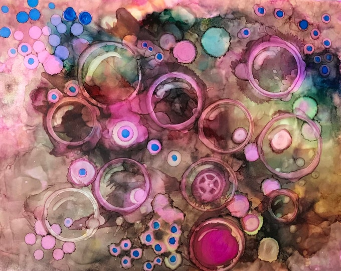Alcohol Ink Gear Bubbles Painting 11x14 one-of-a-kind ArtByLeClaireDesigns unframed abstract fluid flow art circles rose pink blue random