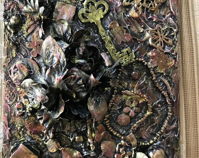 Mixed Media 3D 8x10 Painting Keys Screws Rose Gold Abstract Box Canvas Beads Recycled Art - Reuse - Art 3 Dimension Steampunk Style flowers