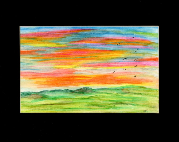 Sunset Vibrant Bright Colorful Watercolor Rolling Hills Original New LeClaire hand painted Not Print ArtByLeClaireDesigns Black Mat 8.5x11