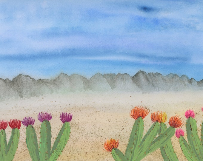 Watercolor New Original Painting 9x12 Desert Flowering Cactus Sand Mountains With Multi-colored Flowers and Desert Landscape Fluffy Clouds