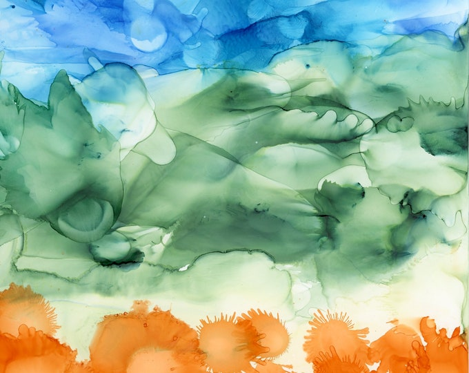 Original Abstract Landscape Alcohol Ink Painting 6x6 one-of-a-kind fluid flow art swirly floral orange flowers sky airbrush art hand painted
