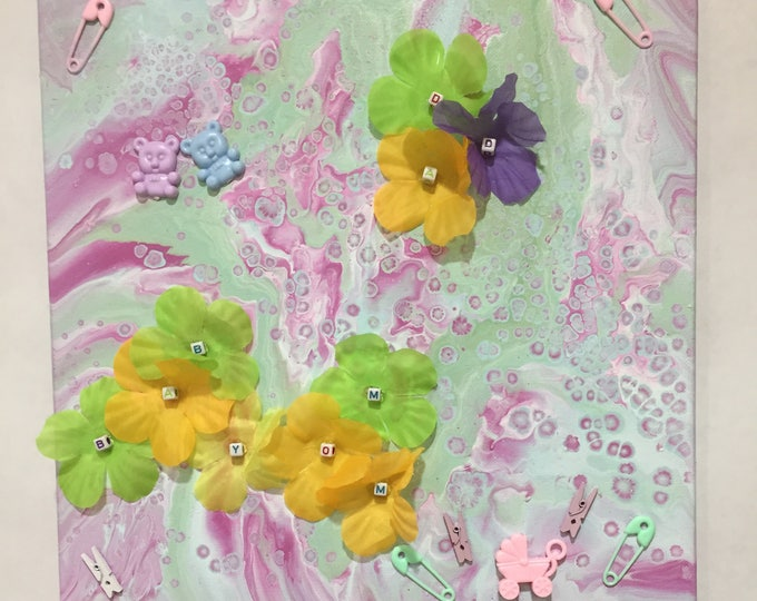 Baby's Flowers Embellished Liquid Fluid Dirty Poured 3-D Acrylic 12 x 12 Pink Green with Flowers and Baby Items - 3 Dimensional Pastel Art