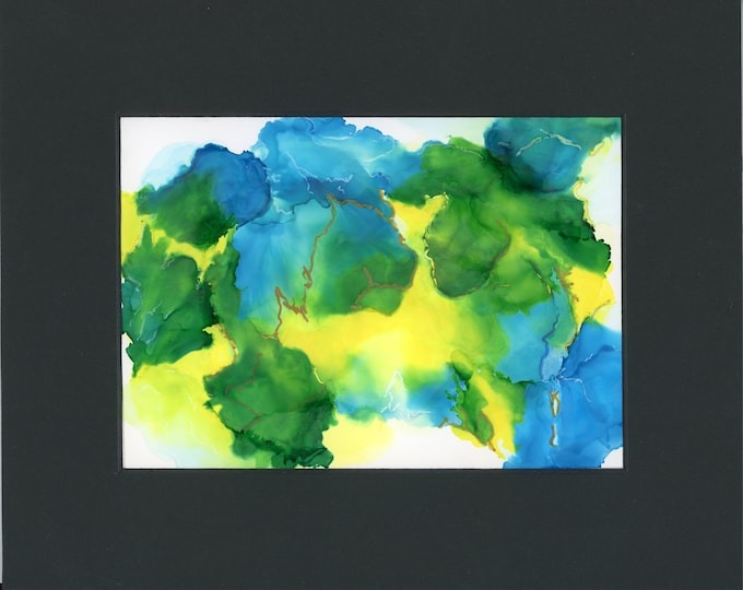 Abstract original alcohol ink blue yellow green swirls with gold accents.  New 5x7 artwork in 8x10 black mat ready to frame not a print