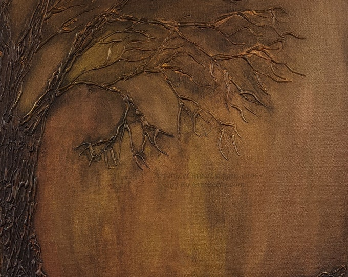 "Square Downloadable Art Print 3-D Glue Tree Copper Hand Painted Acrylic Painting 1:1 Ratio max 24""x24"" Abstract Brown Tree Burnished Bronze"