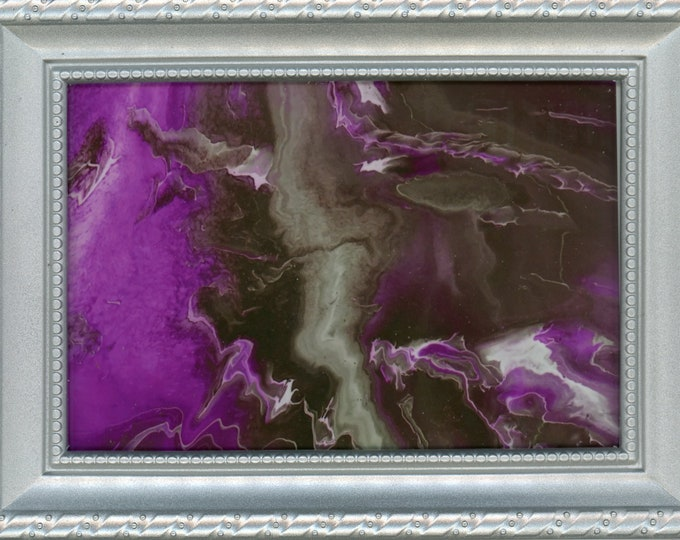 Silver Framed Print of Original Purple Lightning ArtByLeClaireDesigns Abstract Picture 4x6 Print 5x7 Frame Art Acrylic Pour Desk Size