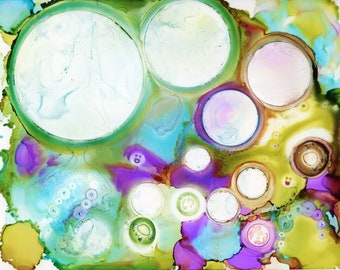 Original Rainbow Circles Alcohol Ink Painting 8.5x11 one-of-a-kind ArtByLeClaireDesigns unframed abstract bubbles flow art various sizes