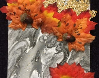 Black and White Autumn original acrylic liquid dirty pour painting abstract art with orange and red leaves acorns and sparkles fall colors