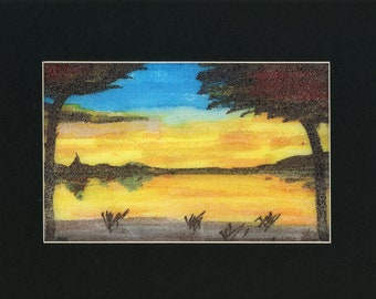 Sunset Foam Painting one of a kind art 8.5x11 inches original new senior artist yellow lake reflection blue colored sunset marker on foam