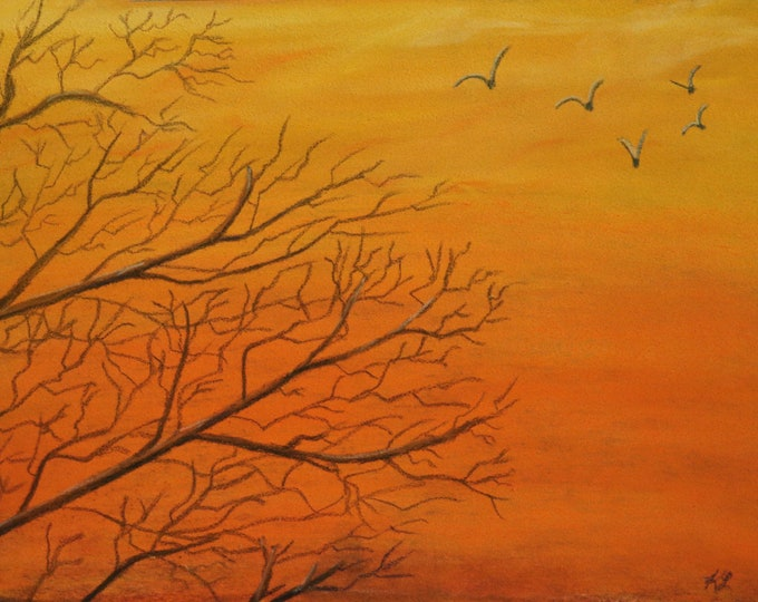 7x9 Fiery Sunset signed original pastel one of a kind landscape hand painted trees branches and birds Not a Print orangish and yellow sky