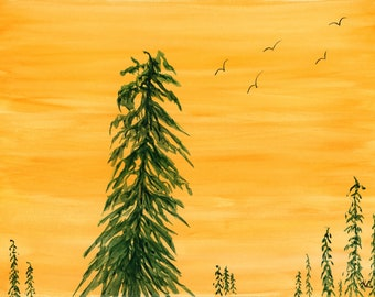 9x12 Original New Watercolor Landscape Good Morning Sunset Orange Yellow Forest Birds one of a kind landscape hand painted mountains trees