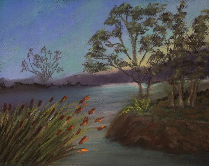 8x10 Sunrise in the Marsh signed original pastel one of a kind landscape hand painted trees in a swamp Not a Print turquoise sky blue water
