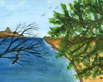 River View original watercolor one of a kind 9x12 landscape mountain pine tree river landscape hand painted birds blue sky branches green