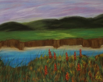 7x9.5 Orange on the Riverbank signed original pastel one of a kind landscape hand painted Not a Print river valley cliffs hills pink sky
