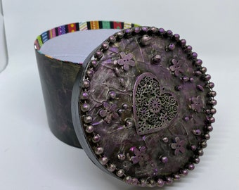 """Mixed Media 3-D Storage Box beaded painted one of a kind pink gold romantic round 4x5"""" flowers roses tiny art metallic Recycled - Reuse Art"""