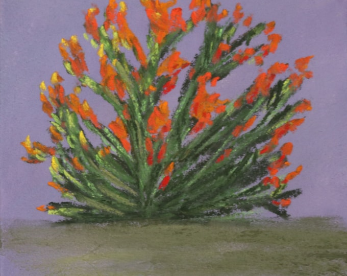 5x7 Original New pastel orange flowers green bush on purple background - one of a kind landscape hand painted not a print - also as an NFT