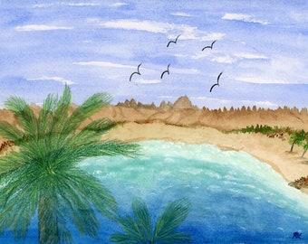 Coconut Cove original watercolor one of a kind 9x12 landscape palm tree ocean landscape hand painted birds blue sky sand surf mountains blue