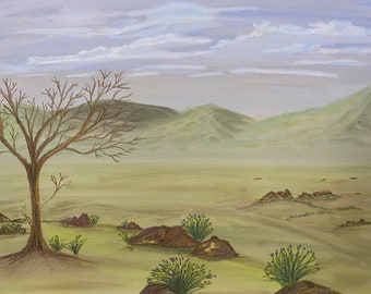 Peaceful Valley pastel original one of kind 9x12 landscape hand painted not a print tree fluffy blue clouds green hills rocks on wood panel
