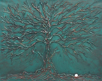 Glue Tree Golf - Gnarled Oak 3-D Acrylic Painting 16x20 Box Frame Bare Branches Golfer Series Hand Painted Copper Green White Golf Ball