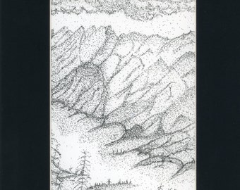 Pen and Ink painting River Gorge one of a kind in 8.5x11 black mat ready to frame authenticity paperwork black and white ink art stippling