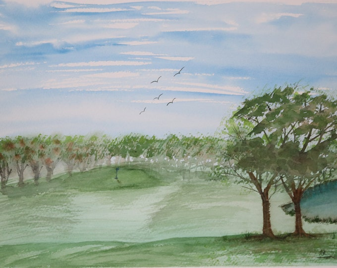 12x16 Golf Watercolor Blue Flag Green Tree Water Hole Original New Birds Fairway landscape golf course flying birds hand painted Not a Print