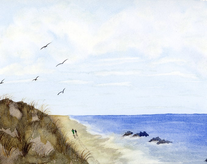 9x12 Woman and Dog Beach Walker Seagulls Sand Original New Watercolor Landscape one of a kind serene peaceful footprints waves not a print