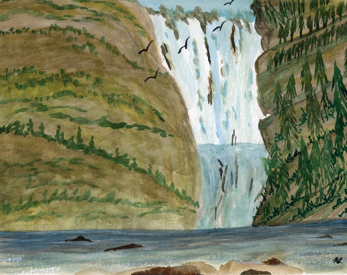 9x12 Original New Watercolor Landscape The Falls Waterfall River Mountain Rocks one of a kind 9x12 landscape serene peaceful Rapids Trees