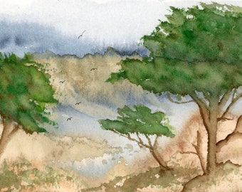 5x7 Overlooking the Bay new original watercolor cliffs trees landscape seascape blue mountain not a print hand painted brilliant flock birds
